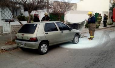 Principio de incendio en un automotor en Rosales al 600
